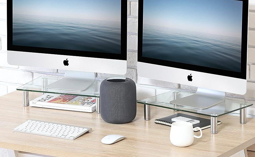 Dual Monitor Riser Stand Desk Organizer Shelf for Home Office