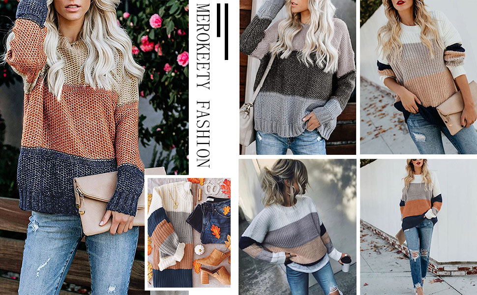 chunky jumper Cable knit sweater women rainbow sweater hand knit fall spring winter cozy color block pullover handmade Ready to ship
