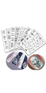 8Pcs Elephant Diamond Nail Stamping Plates