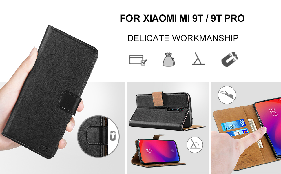 HOOMIL Premium Leather Flip Wallet Case with [Card Slots] [Kickstand Feature] [Magnetic Closure] For Xiaomi Mi 9T Devices - Black