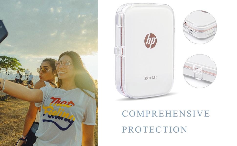 Funda rígida rosa EVA para HP Sprocket//Piñón 200//Sprocket Impresora 2 en 1