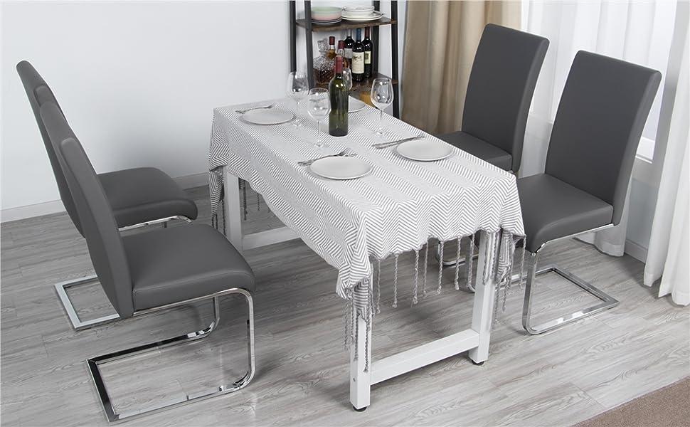 Yaheetech Set 2 Sedie Moderne Sala da Pranzo Cucina Ufficio in Ecopelle e  Acciaio Cromato Grigio
