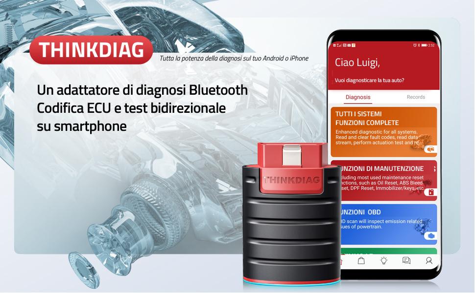 Nuovo EasyDiag 2020 ThinkDiag Bluetooth Diagnosi Tutte Le Sistemi Codifica ECU e Test Attivi e 16 Funzioni di Servizio di Ripristino App per Dispositivi Android e iOS