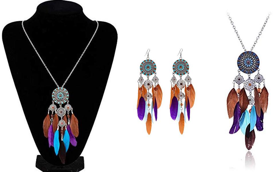 Colorful Bohemian Feather Dangle Drop Earring Gifts for Women Girls Jewelry000001001122