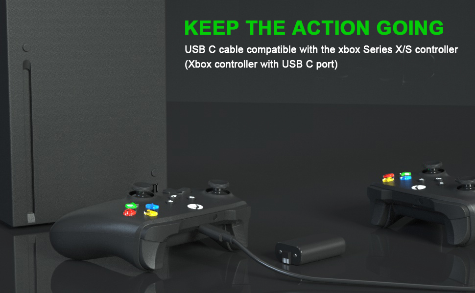 battery pack for xbox with USB C cable