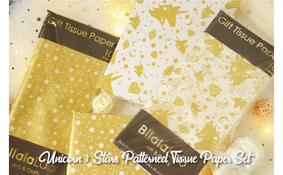 26 * 20inch// 66 * 50cm BllalaLab Unicorn Fantasy Metallic Gold Star Patterned Tissue Gift Wrapping Paper 40 Sheets Set Baby Shower Perfect for DIY Art Projects Girl/'s Unicorn Party Favor Birthday