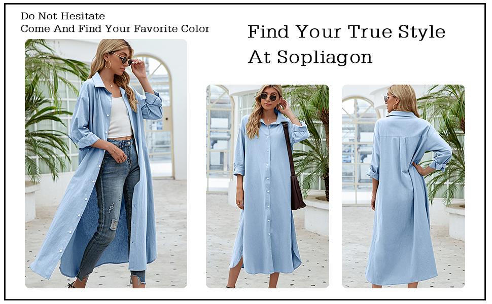 Blue Long Sleeve button down Shirt Maxi Dresses