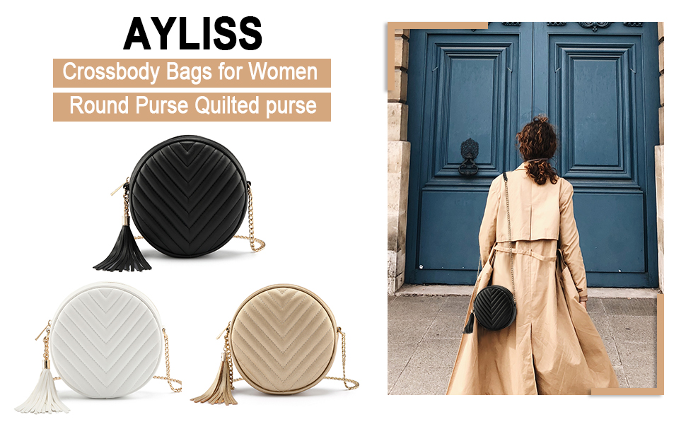 Women Crossbody Shoulder Bag Circle Tassel Purse Clutch Evening Small PU leather Handbag