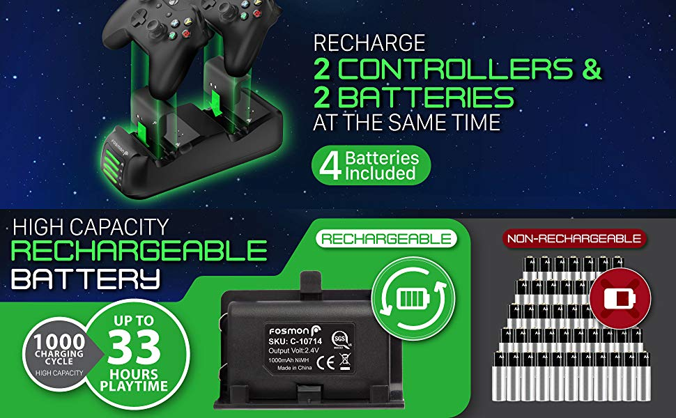 Fosmon Xbox One Quad PRO Controller Charger with 4 Rechargeable Battery Packs