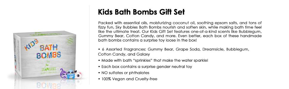 bath bombs, kids bath bombs, fizzies, 6 pack bath bombs, organic, baby play gift set, fun colorful