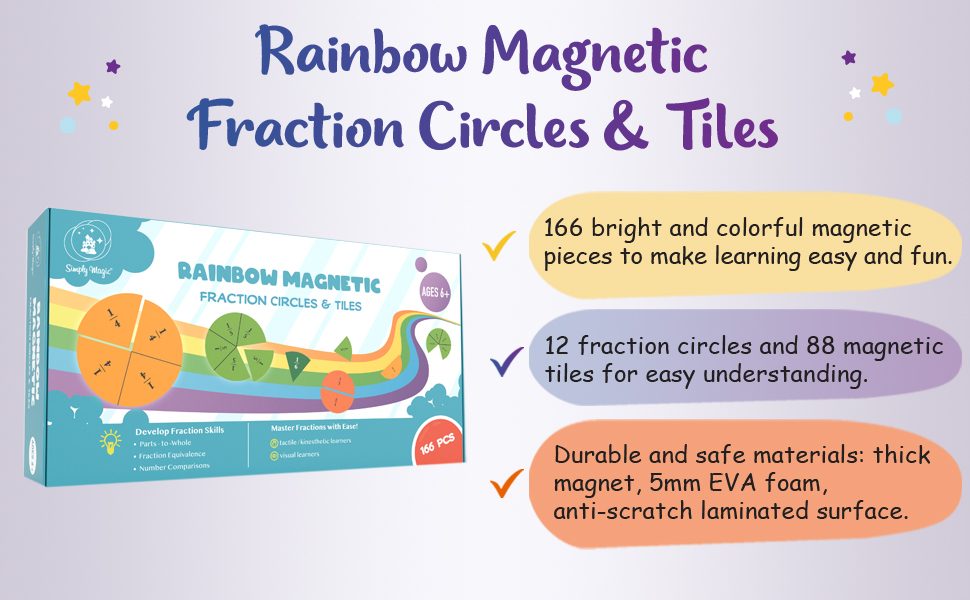 rainbow magnetic fraction circles and tiles fraction magnets fraction manipulatives, fraction strips