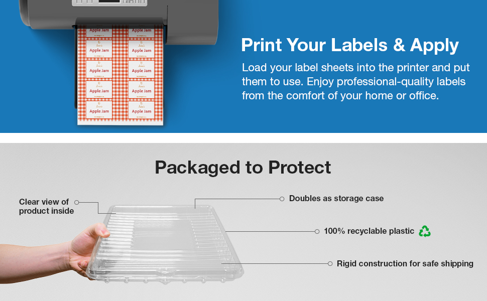 print labels at home or office clamshell storage protected packaging safe shipping