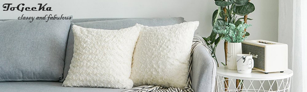 Faux fur rose cluster like pillow cases