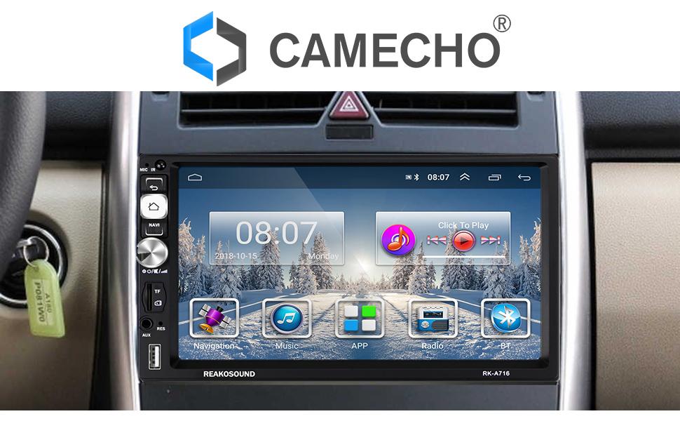 2 DIN Android Radio de Coche GPS FM Am RDS Radio CAMECHO Pantalla Táctil Capacitiva de 7 Pulgadas Bluetooth WiFi USB SD AUX Enlace de Espejo de Video ...