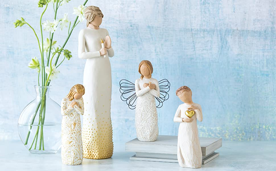 Group shot of Willow Tree Tapestry, Vigil, and Keepsake figures with the Remembrance angel.