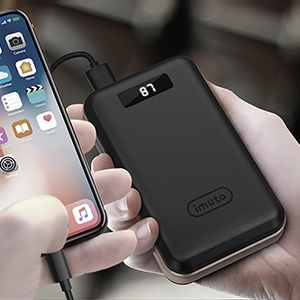 iMuto 20000mAh Portable Charger Compact Power Bank External Battery Pack LED Digital Display Smart Charge iPhone 11 Max Pro XR 10 8 7 Plus, Samsung ...