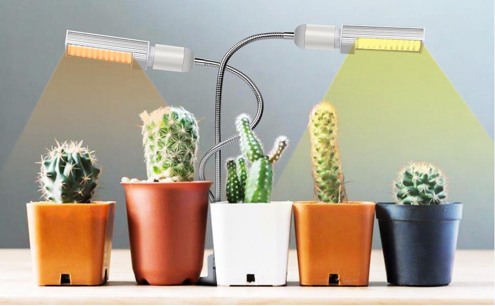 Lámpara de Plantas,45W Lámpara de cultivo de plantas con espectro completo de tipo solar con temporizador 3H/9H/12H, luz artificial para plantas de ...