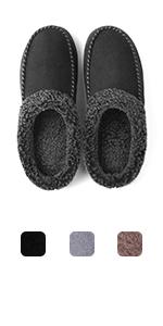 ULTRAIDEAS Men's Slip On Moc Slippers with Memory Foam and Fuzzy Wool-Like Lining