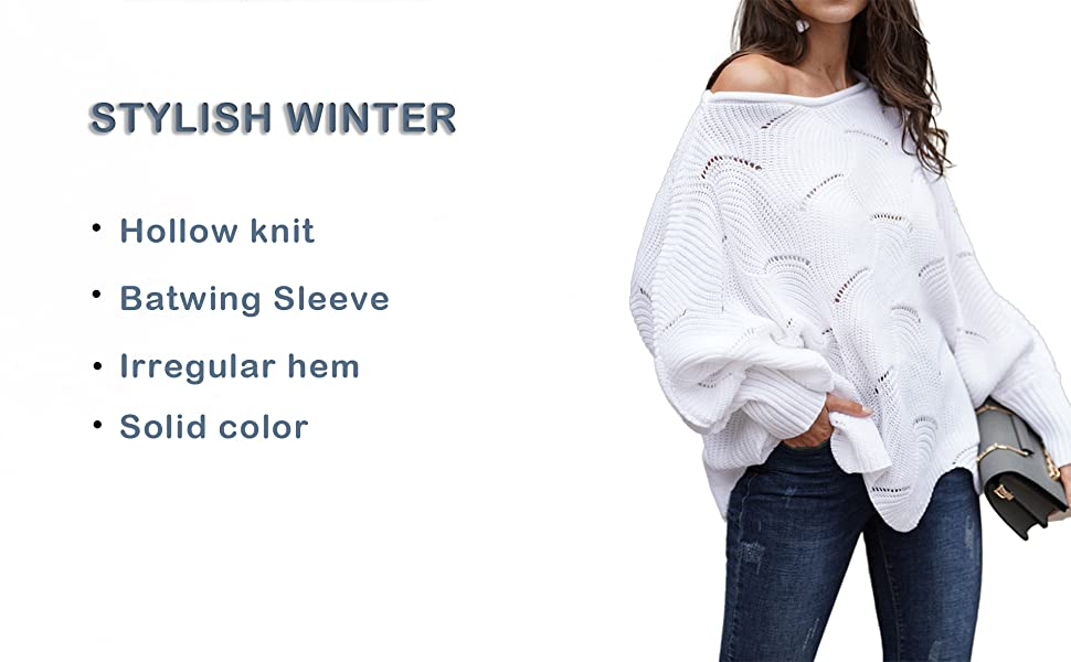 hollow knit sweater off shoulder batwing