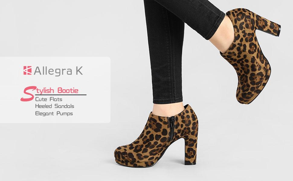 Allegra K Women's Platform Round Toe Chunky Heel Ankle Booties