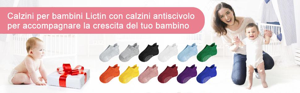 Lictin 12 Paia Calze antiscivolo per Ragazza/Ragazzo