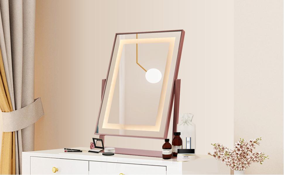 Pink Lighted Makeup Mirror