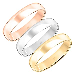 10K Rose, White or Yellow Gold 4MM Classic Plain Simple Wedding Band