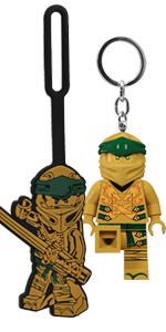 LEGO Ninjago Legacy Gold Ninja Luggage bag tag key light duo