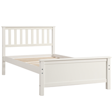 bed frame twin  Harper&Bright Designs Wood Platform Bed with Headboard, Footboard, Wood Slat Support, No Box Spring Needed(Twin, White) 2596b78b 09f6 4418 b202 8a8626062203
