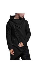 Men's Fashion Hoodie Lightweight Casual Irregular Hem Hip Hop Zipper Sweatshirt