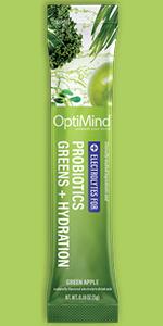 optimind alternascript water booster powder drink mix green apple probiotics greens hydration