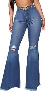Women's Ripped Bell Bottom Jeans