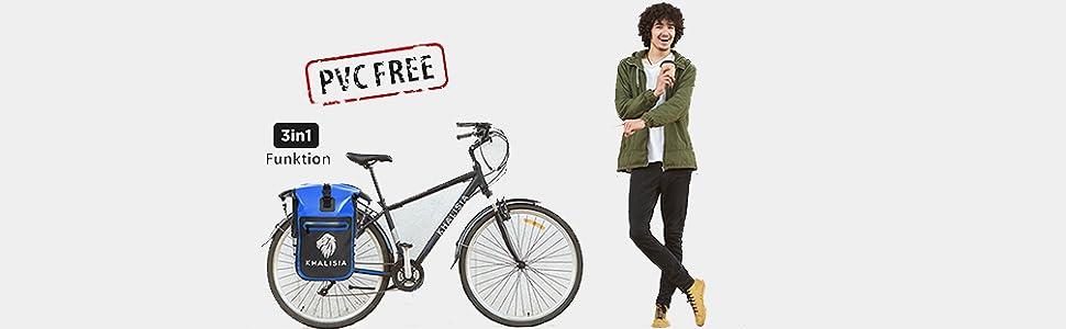 Fahrradtasche Gepäckträgertasche Fahrradrucksack Satteltasche blau pvc frei nachhaltig fahrrad ebike