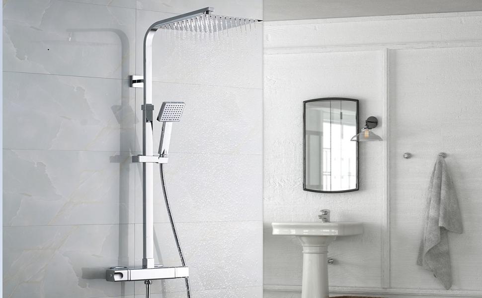 Auralum Columna de ducha termostática Juegos de ducha Mezclador ...