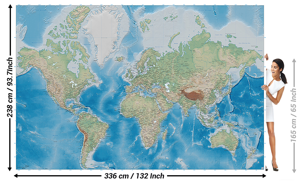 GREAT ART Mural de Pared – Mapa Mundial – Proyección De Miller En ...