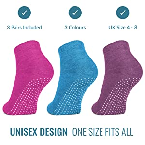 yoga pilates socks ballet barre trampoline dotted grip rubber sole black easy comfortable men women