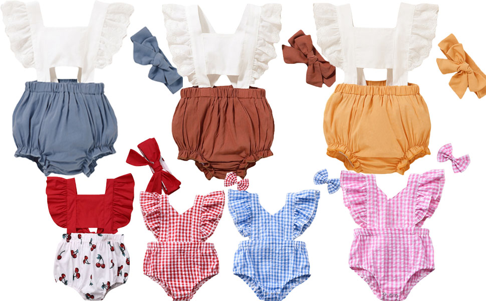Brand New Infant Baby Girls Lace Flying Sleeve Ruffle Plaid Cherry Romper Jumpsuit With Headband