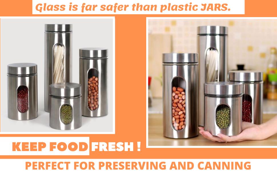steel glass window jar set kitchen storage jar and containers