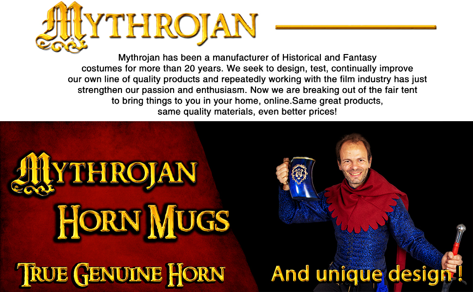Drinking horn mug Viking medieval LARP re-enactor costume accessory authentic quality SCA mythrojan