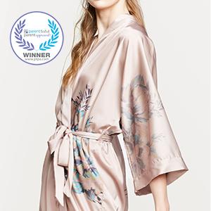 KIM+ONO Women's Charmeuse Kimono Robe Fura Sepia Rose PTPA