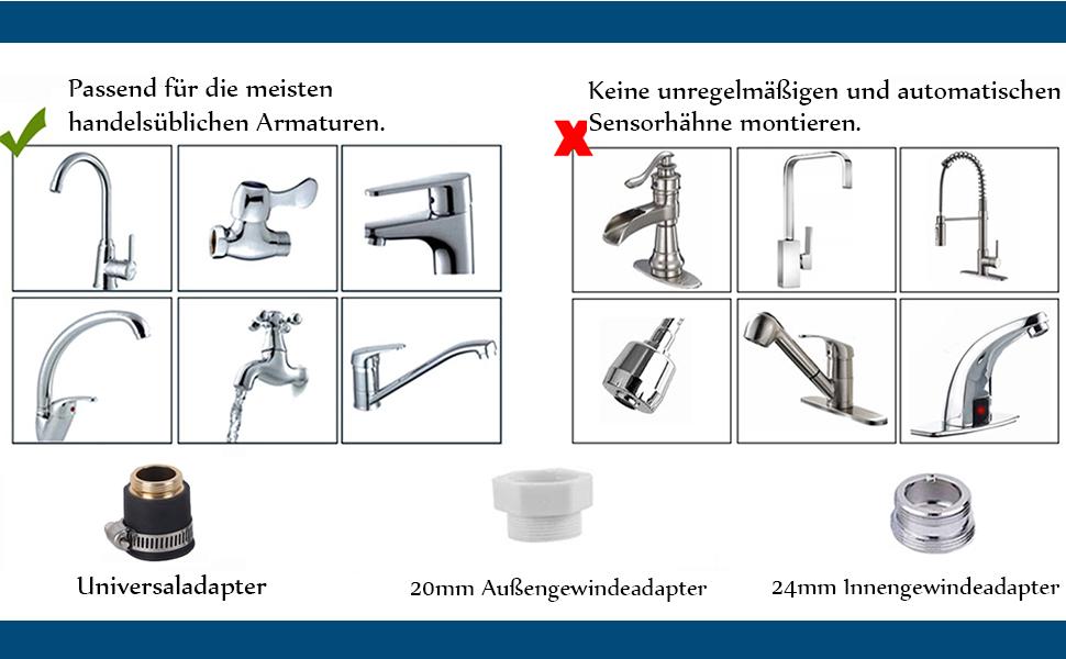Xrten Wasserhahn Filter f/ür K/üchenarmatur Wasserhahn Entkalker Aufsatz Leitungswasser Wasserreiniger K/üchenarmatur