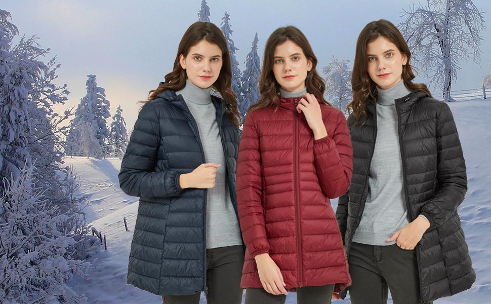 ILISHOP women's lightweight long packable down jacket coat in winter