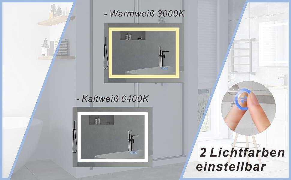 Badspiegel 80x60cm LED Spiegel Beleuchtet für Bad BRUSSELS Typ C