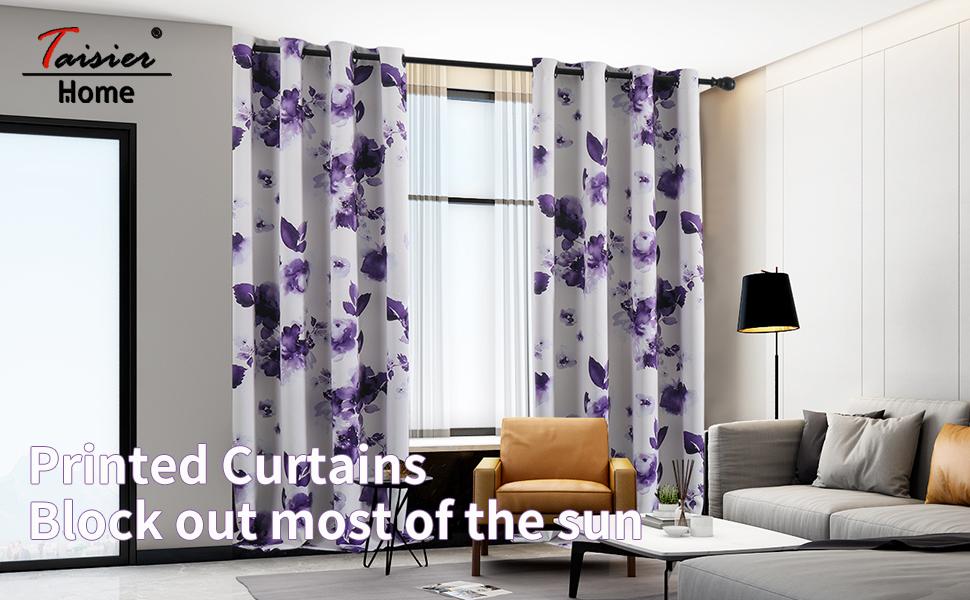 Purple flower pattern drapes printed