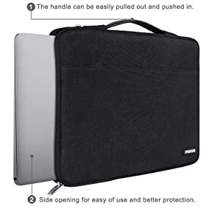 MOSISO Laptop Sleeve 360 Protective Case Bag Compatible with 13-13.3 inch MacBook Pro, MacBook Air, Notebook with Back Trolley Belt, Polyester ...
