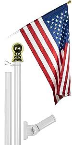 6 Ft Flagpole + 3x5 Ft Pole Sleeve Flag (White)