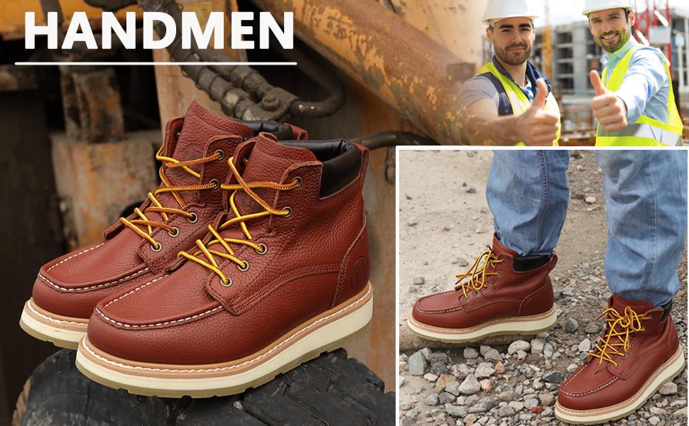 HANDMEN WORK BOOTS FOR MEN MOC TOE