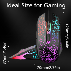 Wired Gaming Mouse, Ergonomic USB Optical Mouse Mice with Chroma RGB Backlit