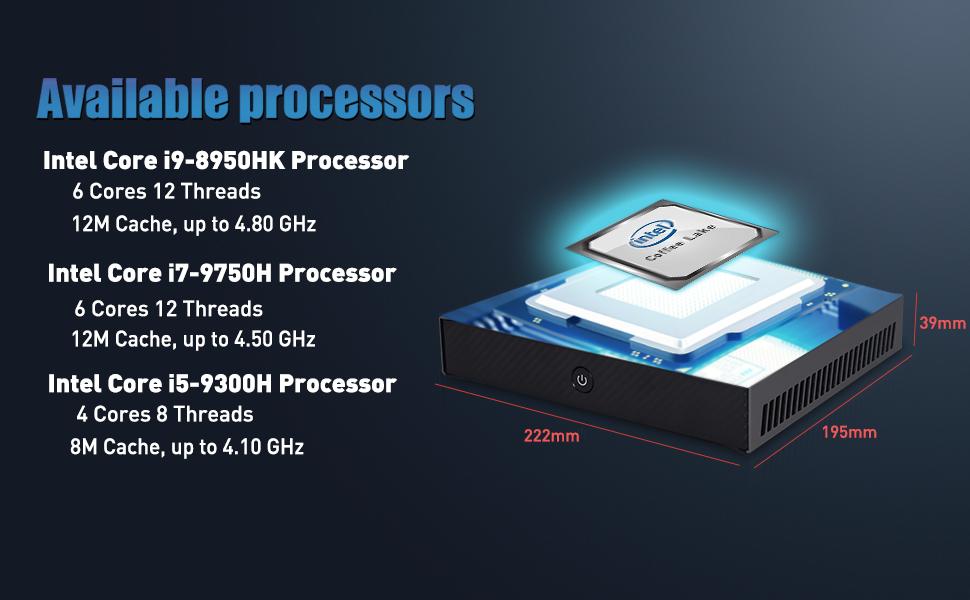 intel coore i9 8950hk, intel core i7, intel core i5 , desktop pc, micro pc