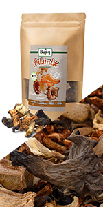 boletus edulis cantharellen morieljes mix champignons gedroogd plakjes gedehydrateerd kruiden heel